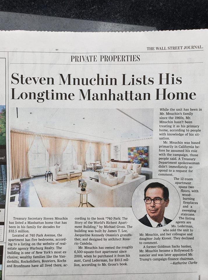 120a113fff60 The news that Treasury Secretary Steven Mnuchin has listed his sprawling  A-Line duplex at 740 Park Avenue made headlines this week.