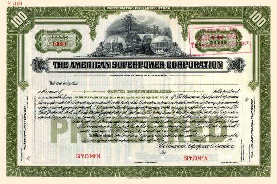 American Superpower Stock Certificate