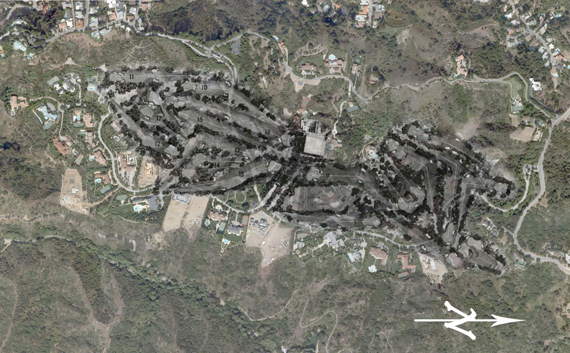 The Beverly Hills Country Club superimposed over today\'s Beverly Park